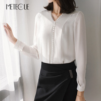 Retro 100 Silk Front Pleated V Neck Sexy Top Long Sleeve Blouse Women Shirt Vintage Womens
