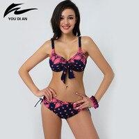 Free Shipping 2015 Sexy Big Size Woman Bikini Swimwear Swimsuit Push Up Bikini Set Lady Summer