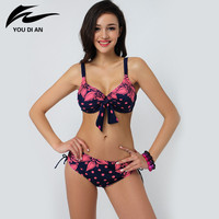 Free Shipping 2015 Sexy Big Size Woman Bikini Swimwear Swimsuit Push Up Bikini Set Lady Summer