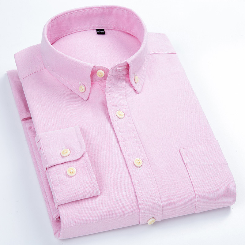 Men's Solid Oxford Casual Full Sleeve Cotton Shirts Patch Single Front Pocket Standard-fit Button-Down Tops Shirt
