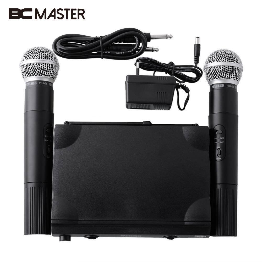 BCMaster Hot For UHF UT4 Dual Wireless Microphone Mic System Cordless 2 MIC Audio Karaoke Party KTV DJ Black High quality