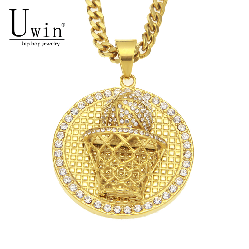 UWIN Gold Stainless Steel Basketball Rim Hoop Pendant Iced Out Rhinestone  Ball Sport Necklace Men Hip cfdd291525be