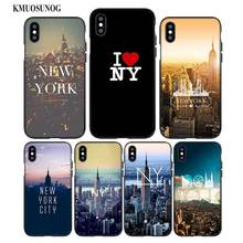 For iPhone XS X XR Max 8 7 6 6S Plus 5 5S SE Black Soft Silicone Phone Case New york city Style