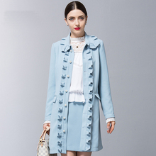 Trench Coat For Women Polyester Long Coats Blue Turn-down Collar Overcoat Ruffles Outwear Winter Spring Casual Women's Clothes