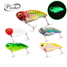 Купить с кэшбэком Peche 1pcs Fishing Lures Sinking VIB Artificial Hard Baits Metal Luminous Wobblers Lifelike 3D Eye Pesca Isca 3.5cm 7g 4.5cm 11g
