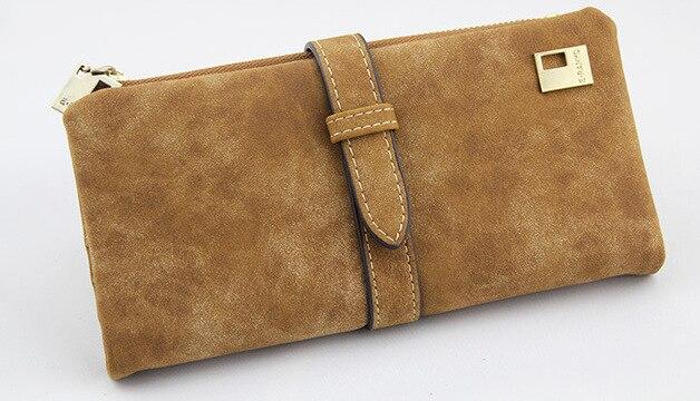 Известный бренд, Длинный кошелек, два сложения, женские кошельки, на завязках, нубук, кожа, на молнии, замшевый кошелек, дамская сумочка, клатч - Цвет: Brown