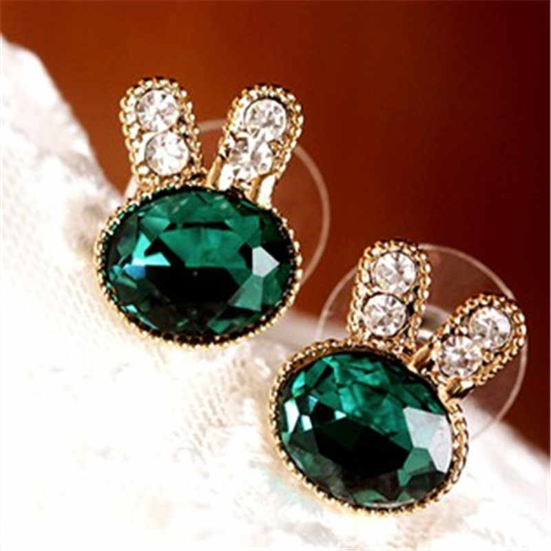 Rhinestone Crystal Rabbit Stud Earrings For Women Navy Green  4ED127