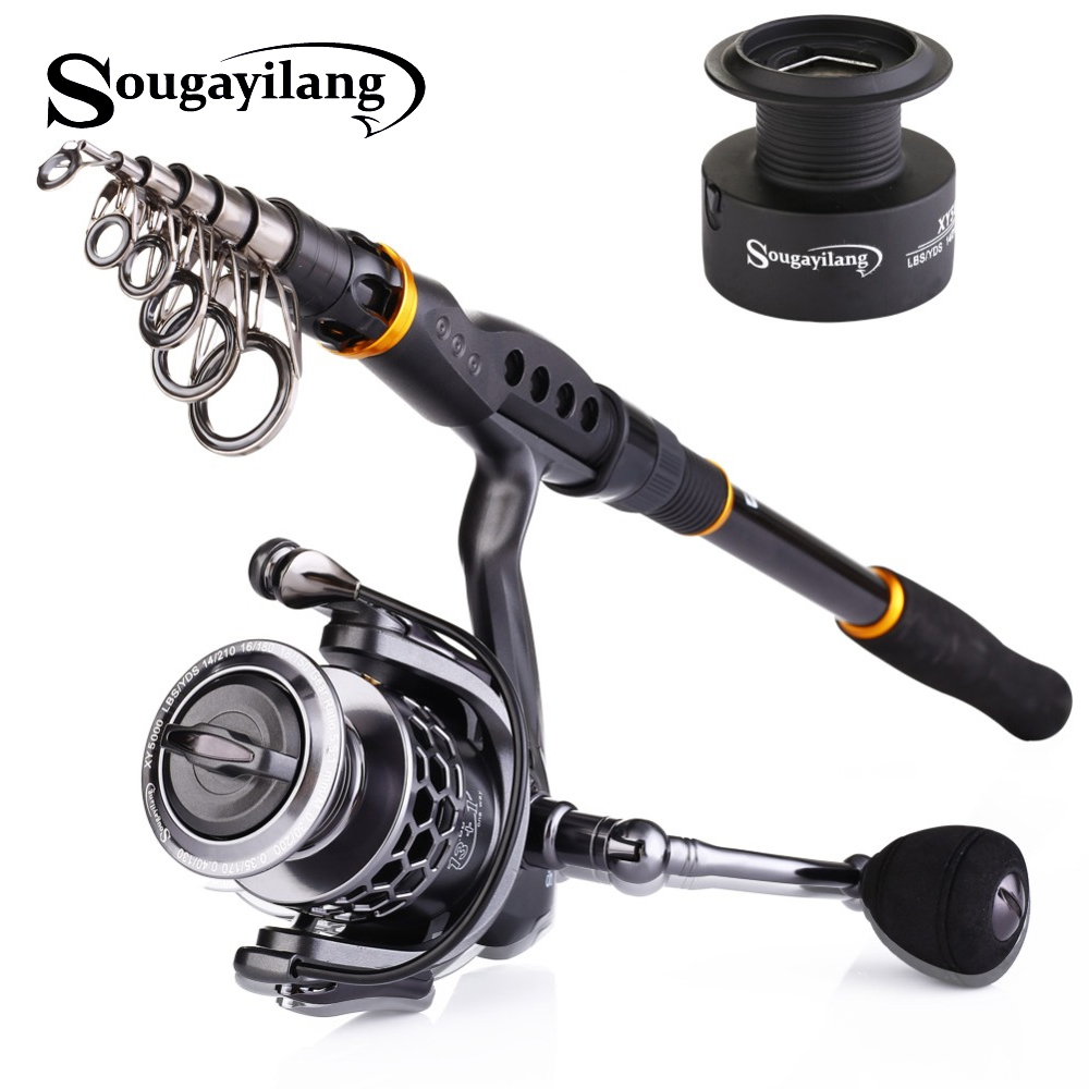 Sougayilang 1.8  3.6m Fishing Rod Reel Combos Telescopic Portable Spinning Poles And Spinning Reel With Spare Coil Set de Pesca|Fishing Rods| |  - title=