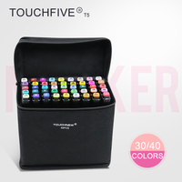 TOUCHFIVE T5S 30 40 Colors Dual Tip Black Barrel Sketch Markers Black Bag For Drawing Painting