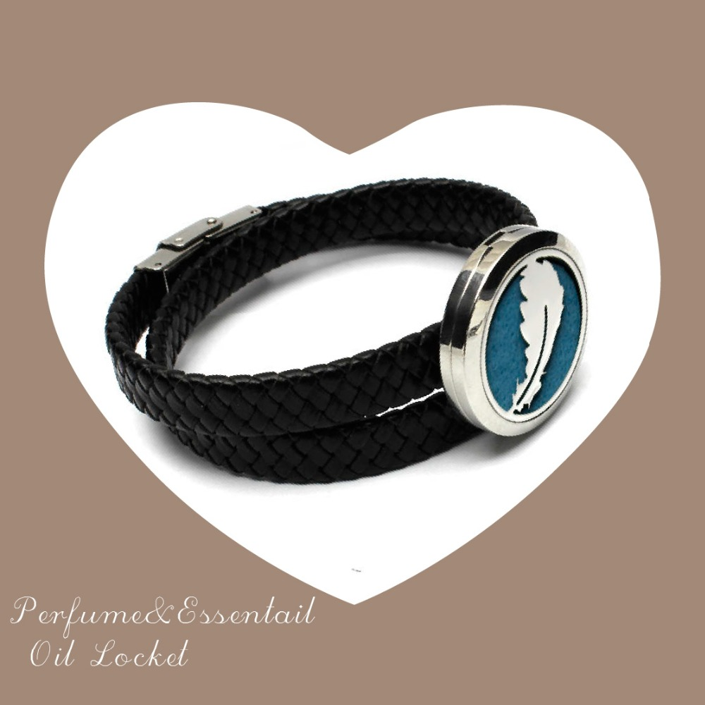 Fashion Jewelry Aromatherapy Diffuser pendant Bracelet With Wrap Leather Band Silver Essential Oil Bracelet With Felt Pad