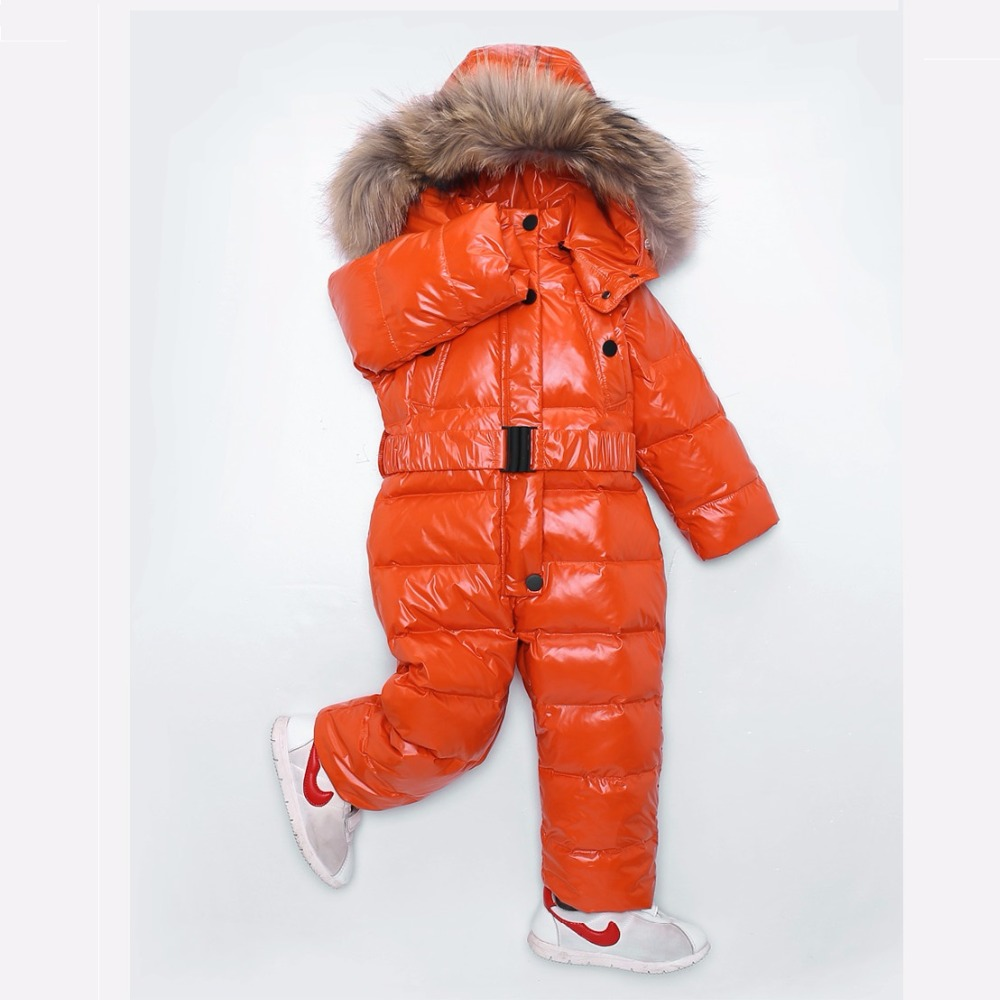 2018 Winter Child Down Bodysuits Boy Down Coat Girl Down Jacket Natural Fur Hooded Snow Wear Kids Bodysuit 18M-5T 90-100-110cm стоимость