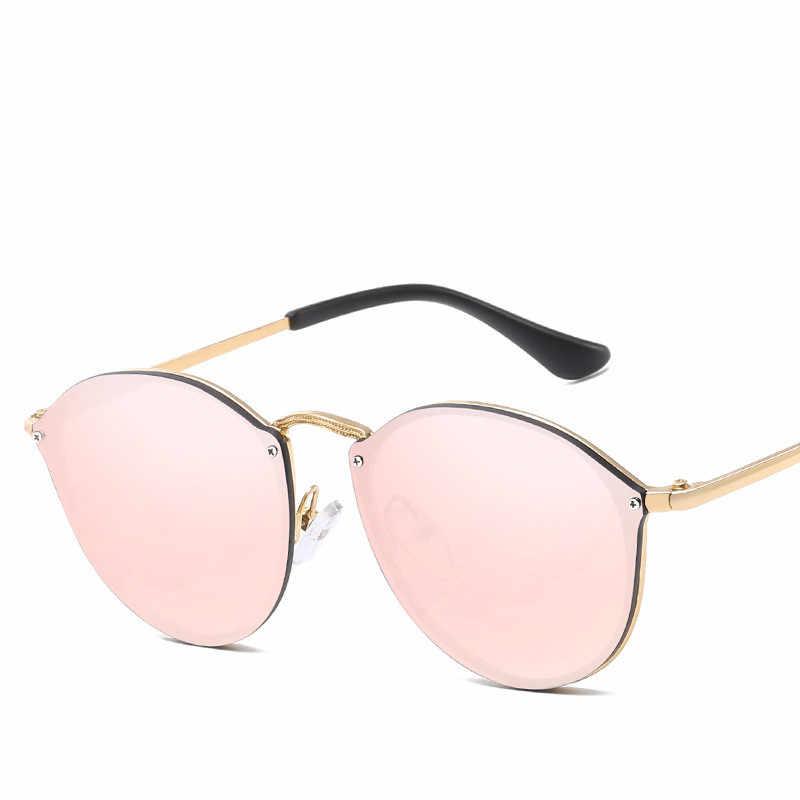 e063133372 ... 2019 New Fashion Rimless Sunglasses Women Brand Designer Mirror Vintage  Round Cat Eye Sunglass Female Lady ...