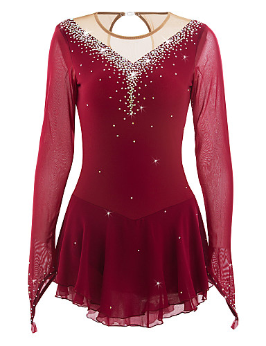 Red Figure Skating Dress Long-Sleeved Ice Skating Skirt Spandex Women's  Girl's Ice Skating Dress