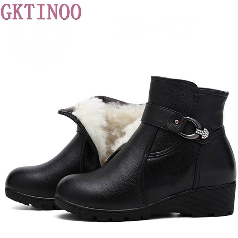 Women Boots 2017 Fashion Shoes Woman Genuine Leather Wedges Ankle Boots Winter Wool Snow Boots Women Shoes 2017 new fashion black women summer boots genuine leather platform shoes woman bowtie creepers gladiator wedges ankle booties