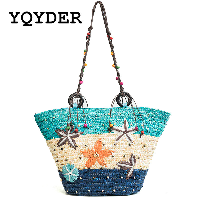 f02945a0f 2018 Rattan Straw Bags Women Starfish Decoration Colorblock Handbag Summer  Straw Handmade Woven Beach Bag Large Capacity Totes