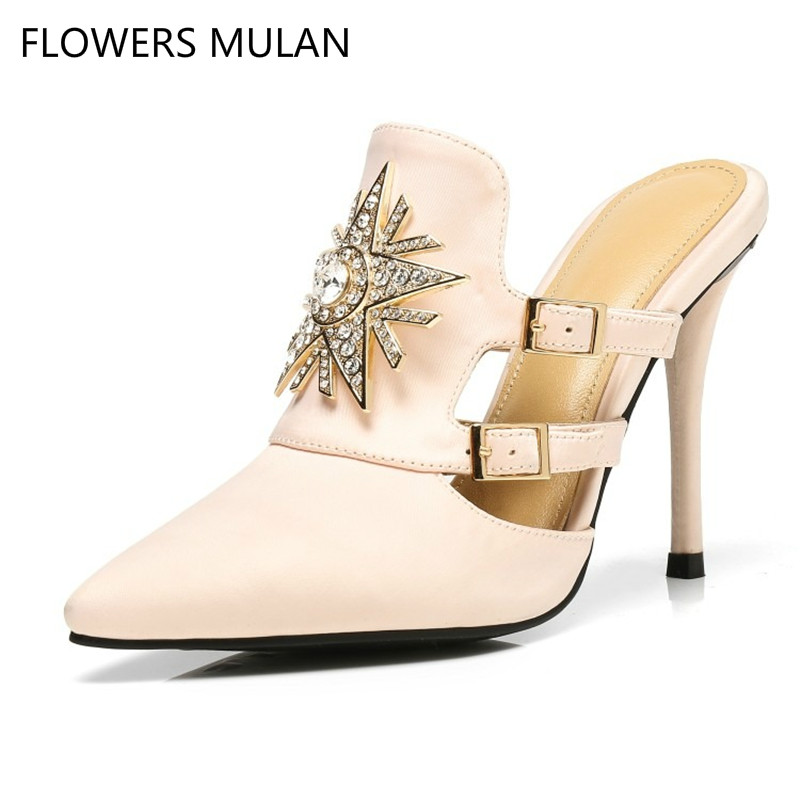1c5e7cd612f6c4 Show Pantoufles Strass Show Soie Femmes Chaussures Licorne Gladiateur  Talons Sandales Mules 2018 Pointu as Hanbaidi Haute Bout ...