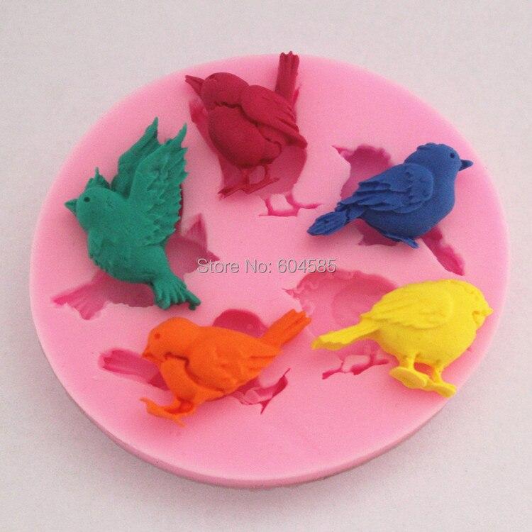 Aves pastel fondant de silicona jabón del molde del chocolate para la cocina par