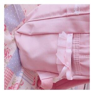 Image 3 - Original Japanischen Weichen Mädchen Rucksäcke Rosa Nette Spitze Bogen Taschen Kawaii Damen Nylon Rucksack Studenten Täglichen Mädchen Stil Zurück Pack