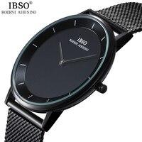 IBSO Brand 7MM Ultra Thin Quartz Watch Men Steel Mesh Strap Mens Watches Relojes Hombre 2017