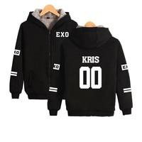 EXO K pop Harajuku Hoodies Women Thicker Fluff Winter Coats Tao Hip Hop Sweatshirt Women Female Fans Fashion Zipper Clothes