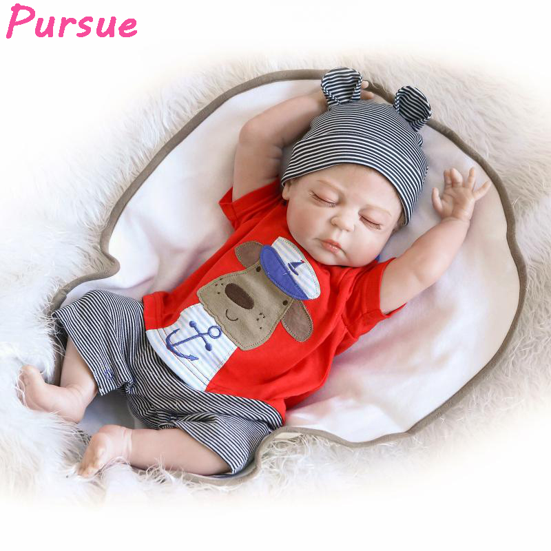 Pursue 22/57 cm Reborn Babies Silicone Dolls Full Body Vinyl Washable With Child Eyes Close Sleeping Birthday Gift For Boy Fun pursue 22 57 cm reborn babies silicone