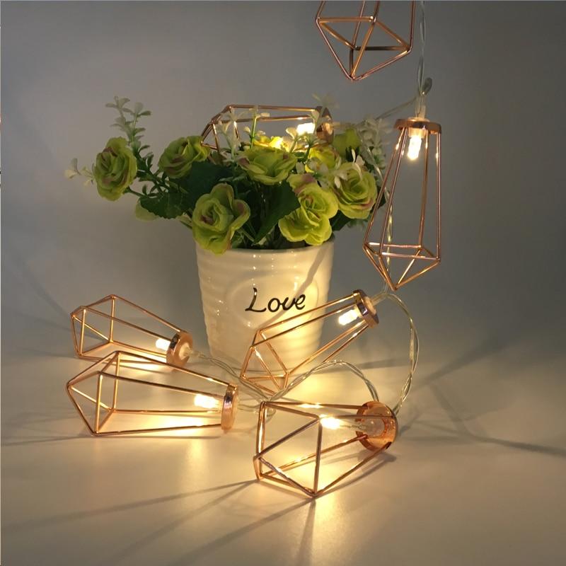 3M 20 LED Diamond Shape Fairy String Light Retro Iron Metal Wedding Lantern Lamp