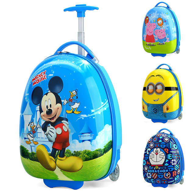 5f73bf388296 US $42.12 19% OFF|16 Inch Kid's LovelyKAWEIDA Travel Luggage Children Hello  Cartoon Trolley Luggage with Universal Wheel Yellow Blue Pink Suitcase-in  ...