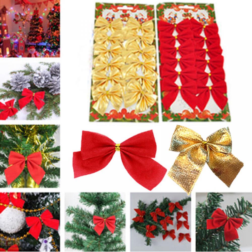 12x Bow Christmas Tree Decoration Xmas Ornament Bowknot Party Home Wedding Decor