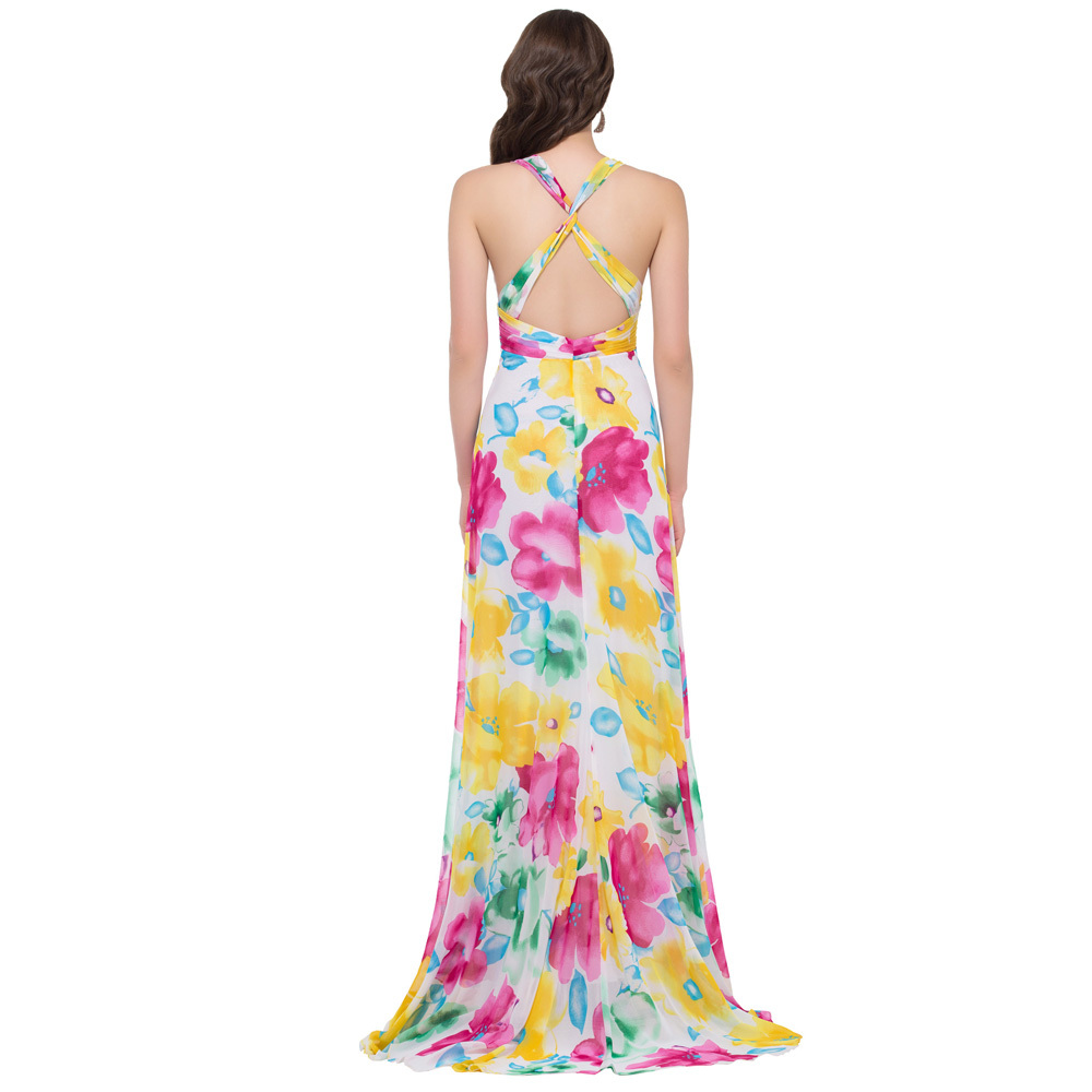 Free Shipping Grace Karin V Neck Long Floral Print Dress Cross Back Flower  Pattern Evening Dresses Pretty Formal Gown GK000020-in Evening Dresses from  ... fe5a5b934e60