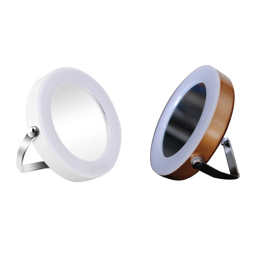 Desktop LED Lighted Round Cosmetic Mirror 360 Degree Rotatable Makeup Beauty Supplies 3X Magnifying Mini Stand Mirror