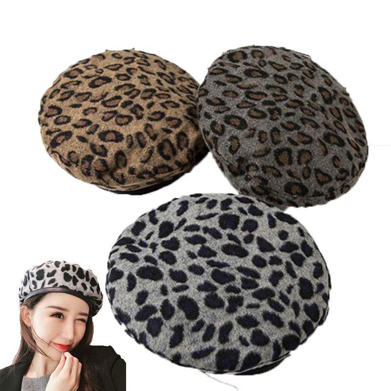 Fashion Berets Caps For Women Warm Hat Wool Berets et Bonnets Femme Leopard Print Flat Cap Autumn Winter Woman Hats Accessories
