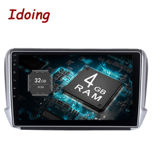 Idoing 1Din 10.2inch Android8.0/7.1 Car Multimedia Player Fit Peugeot 208/2008 Steering wheel Octa Core Fast Boot 4G+32G Radio