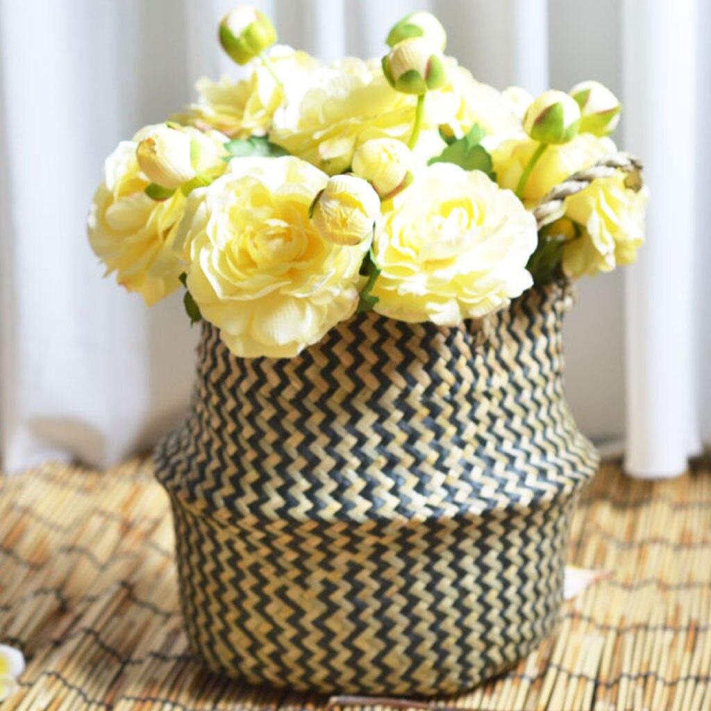 Image 2 - 2019 online star item Household necessities Seagrass Wicker Basket Flower Pot Folding Basket Dirty Basket Storage Decoration-in Flower Pots & Planters from Home & Garden