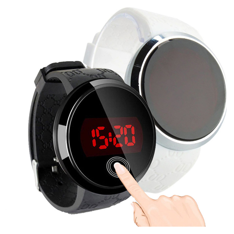 Digital Wristwatches Touch-Screen Waterproof Silicone Fashion Date Black LED