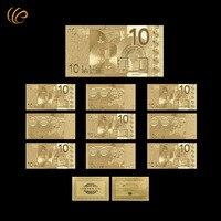 حار بيع الذهب 24 كيلو الذهب مطلي الذهبي 10 فواتير اليورو العملات الورقية مع بطاقة شهادة عدو المنزلية ديكور