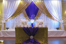 3M*6M royal blue & Shiny Sequin Wedding backdrop wih beautiful swags bling Weding stage curtain Wedding Decoration