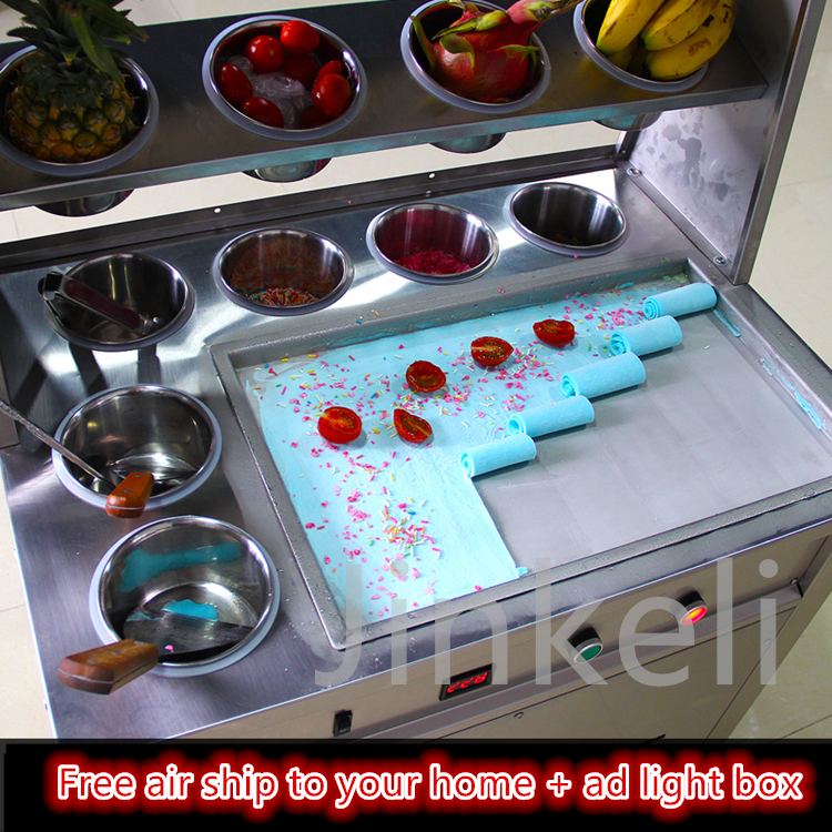 2017 ad light box design automatic Commercial Fried ice machine with 10 buckets one pan 1600w 110v 220v fried ice cream machine
