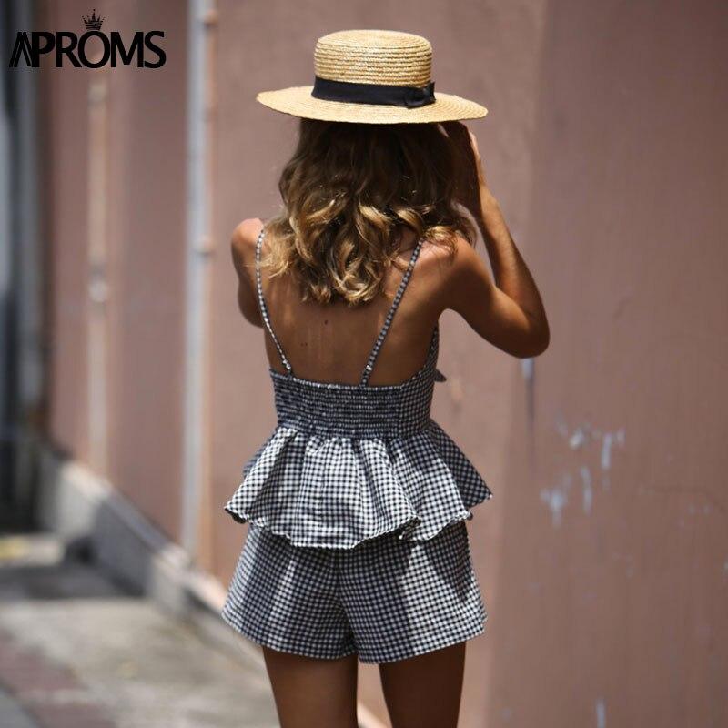 HTB1eWdrQpXXXXayapXXq6xXFXXXC - FREE SHIPPING 2 Piece Set Jumpsuits Rompers Women Summer Plaid JKP220