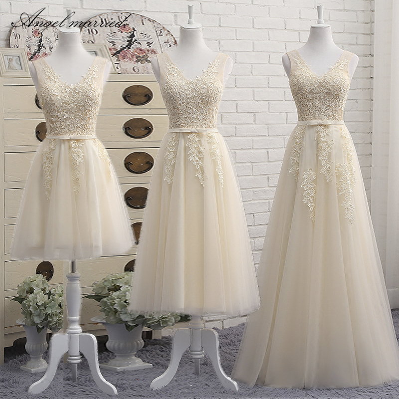 Angel married champagne   bridesmaid     dresses   3 Style wedding party   dress   junior wedding guest   dress   vestido de festa 2018