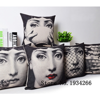 Close Weave Hessian Vintage Fornasetti Art Beauty Face SKULL Custom Made Pillow Cover Black And