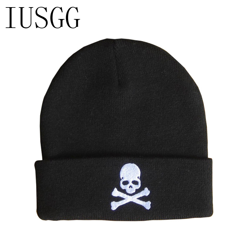 Embroid Skull Winter Beanie Women Men  Hip hop Vogue Hat Knitted Ski Skullies Bonnet Crochet Casquett gorros de lana 2017 New winter women beanie curl all match crochet knitted hiphop hats warm ski hat baggy cap femme en laine homme gorros de lana 62