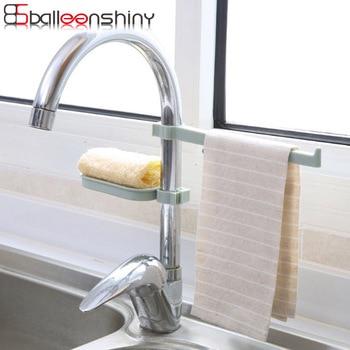 BalleenShiny 2pcs Faucet Hanging Storage Rack Sink Drain Shelf Towel Rack Kitchen Bathroom Sponge Soap Rags Organizer Hold