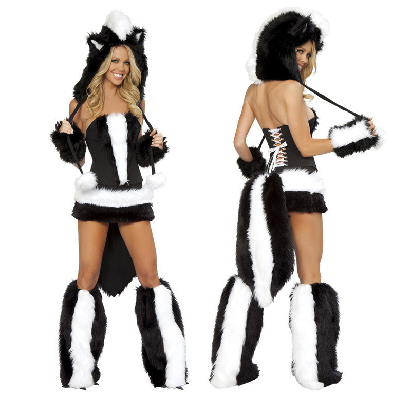 2017 Limited Time-limited Adult Women Disfraces Carnival Costume Skunk Cosplay Dress Halloween Game Service Skunks Big Work Wear ...