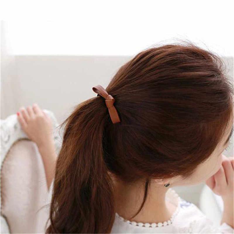 Mode Vrouwen Eenvoudige Lederen Lint Geknoopt Boog Koreaanse Stijl Elastische Haarbanden Paardenstaart Houder Meisjes Vintage Haar Accessoires