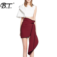 Beateen 2019 New Two piece Set White Cropped Bow Tie Detailing Top for Girls Ruched Asymmetrical Mini Skirt Stylish Women Sets
