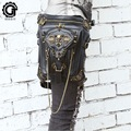 2017 Trend Steampunk Waist Pacs Thigh Holster Leg and Hip Pack Bag Vintage Gothic Skeleton Rock Retro Waist Bag PU Leather Purse