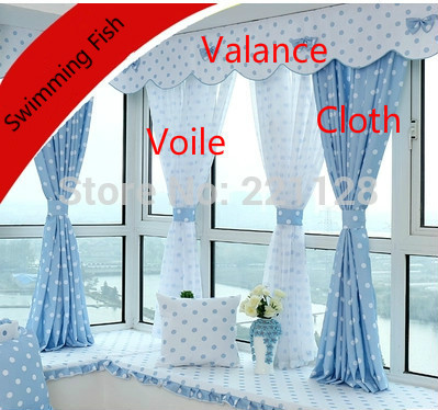 Living room curtain,rustic modern brief blue quality bay curtain,voile cloth with valance,size customized
