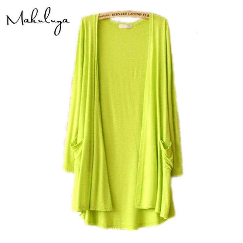 Makuluya SpringMakuluya Autumn Summer Women Cardigan Thin Modal Candy color Long Outerwear Sunscreen air conditioning coat QW