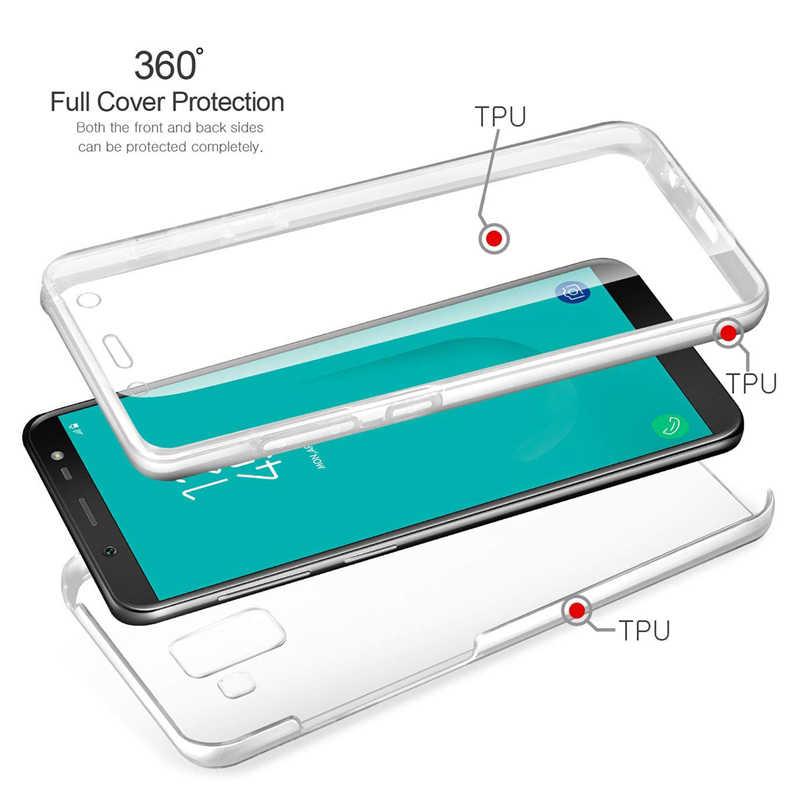 Para Samsung Galaxy A7 A6 A8 2018 A750 J4 J6 Plus j2 Pro J8 S8 S9 S7 S6 Nota 8 9 5 4 Tampa Transparente macio de Corpo Inteiro Caso de 360 Graus