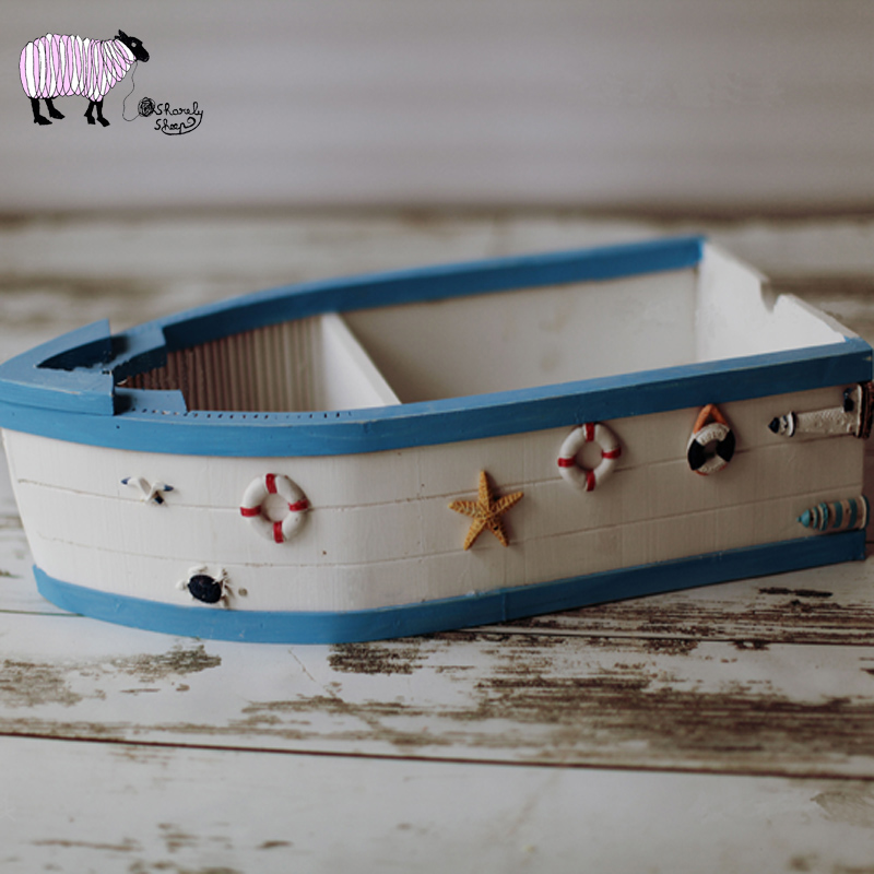 Newborn Baby Photography Ocean Theme Wooden Boat Props Infant Fotografia Props Baby Boy Photo Shoot Studio Solid Wood Basket